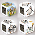 16 style Madagascar's penguin Night Light Clock Popular Square LED Colorful Digital Electronic Clock Popular Games Small Gift #F