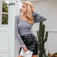 Simplee Sexy Lace Up Knitting Pullover Fashion Flare Sleeve Autumn Winter Sweater Women Tops Casual Hollow