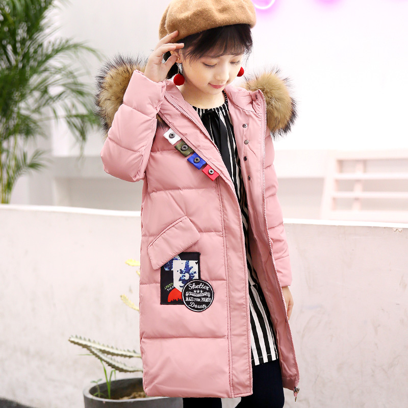 Duck Down Jacket Girl 2018 Winter Fur Hooded Coat for Teenage Girl 12 years 4 10 8 Long Parkas Children Girls Winter Clothing christmas cotton padded parkas teen winter coat girl long red pink black hooded warm winter jacket for girl 6 years 8 10 12 14