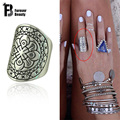 2015 New Vintage Bohemian Beach Punk Ring Ethnic Carved Flower Antique Silver Totem Rings Boho Knuckle Finger Ring for Women