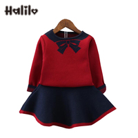 Halilo Girls Halloween Outfit Bow Knitted Sweater Skirt Toddler Girl Fall Clothes Long Sleeve Children Clothing