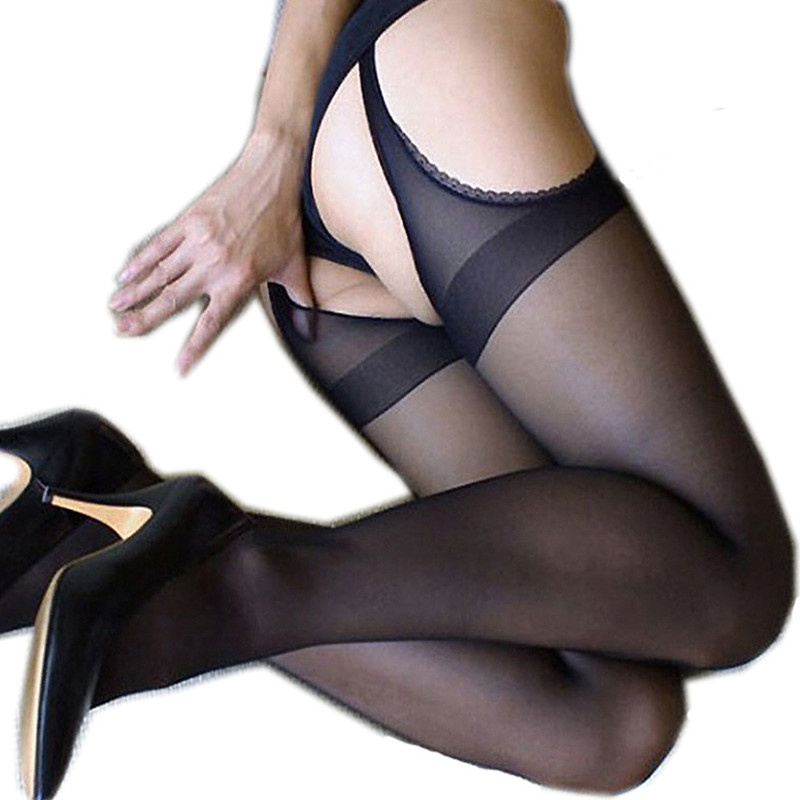 2018 New Sexy Womens Ladies Open Crotch Crotchless Lace Sheer Silk Stockings Lingerie Tights For Women Pantyhose ...