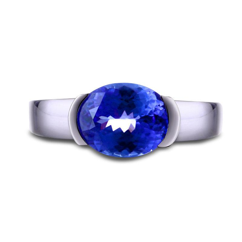 Simple 3 carat 925 sterling silver classic tanzanite diamant sapphire female wedding engagement jewelry (CM)