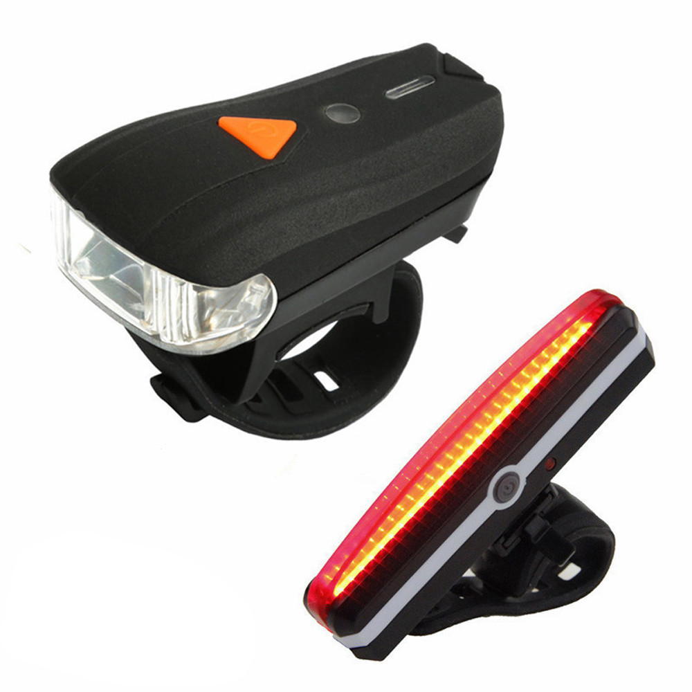 Bike Bicycle Cycling USB Rechargeable LED Head Front Lights Rear Tail Lamps Set