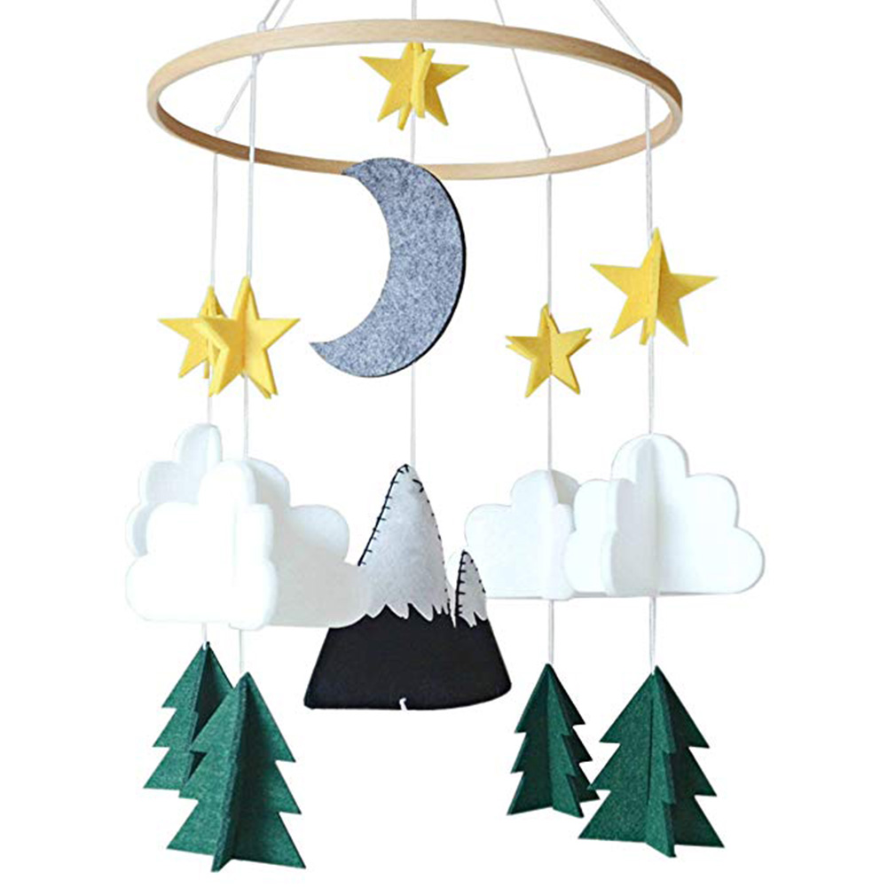 Nursery Decoration Baby Wind Chimes Crib Mobile Woodland Play Hanging Starry Night Felt Moon For Boys Handmade Girls Bedroom