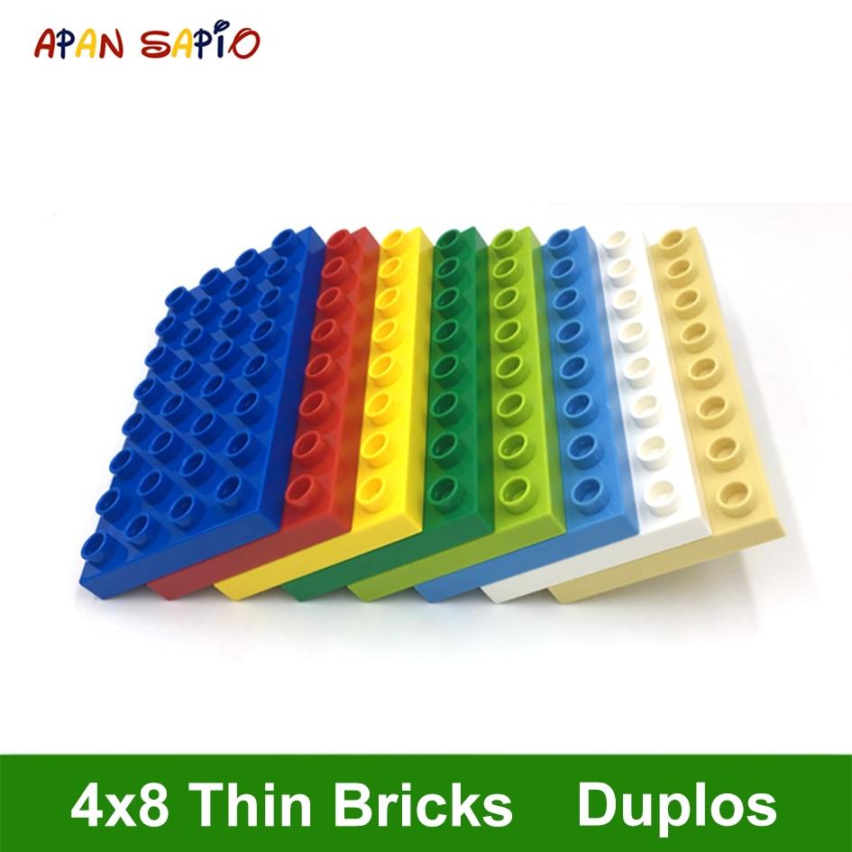 Big Size DIY Building Blocks Thin Figures Bricks 4x8Dot 4PCS Educational Creative Toys For Children Compatible With Brands