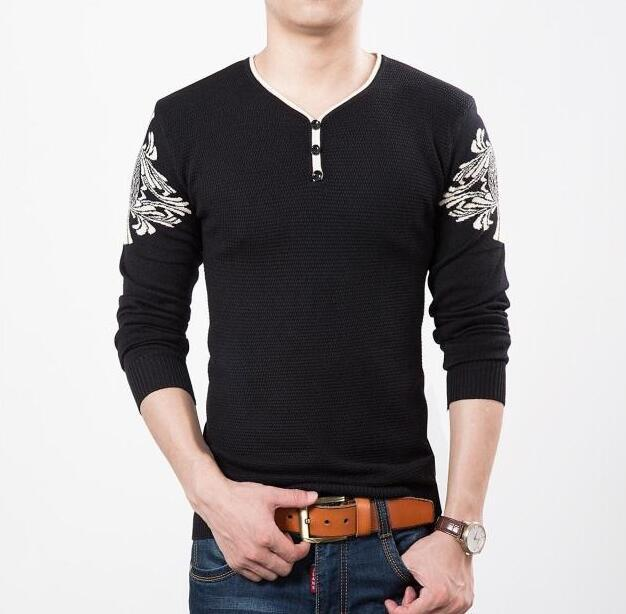 winter new men's V neck long sleeved sweater slim  design thin sweaters hot sale