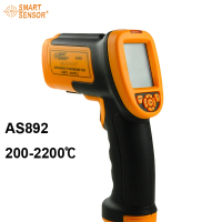 Free shipping Brand New digital IR non contact laser Infrared Thermometer 200C~2200C(392F~3992F) AS892 with carry Box