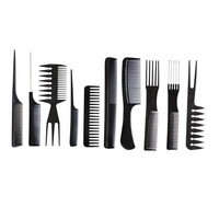 Fashion 10PCS Combs Black Pro Salon Hair Styling Hairdressing Plastic Barbers Brush Combs Set Beauty Tools Hair Comb Hair Care Health & Beauty