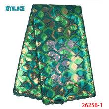 Африканская кружевная ткань последние нигерийские высокого качества для свадебного платья французский Тюль органза блестки кружевная ткань YA2625B-1