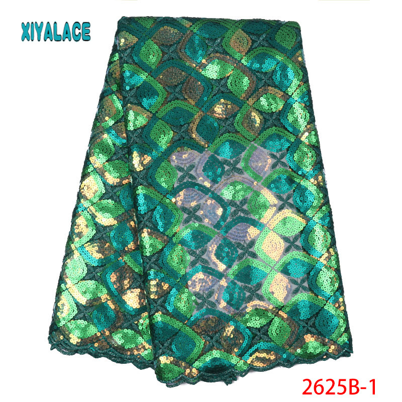 African Lace Fabric 2019 Latest Nigerian High Quality For Wedding Dress French Tulle Organza Sequins Lace Fabric YA2625B-1