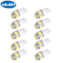 Aslent 10PCS T10 Led Car Lights 5050 5smd Super White Red Yellow 194 168 w5w Parking Bulb Auto Wedge Clearance Read Lamp 12v
