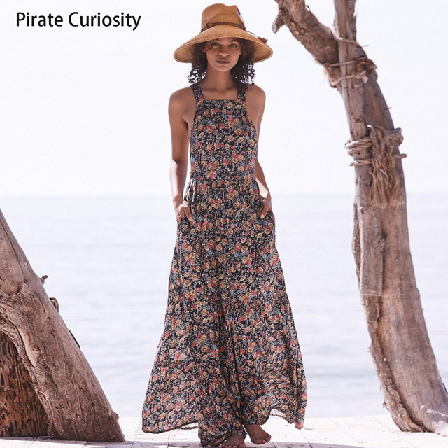 f88105ae240 Pirate Curiosity Flowy Floral Maxi Dresses For women Vintage Print Crossed  Backless Long Maxi Dress Boho
