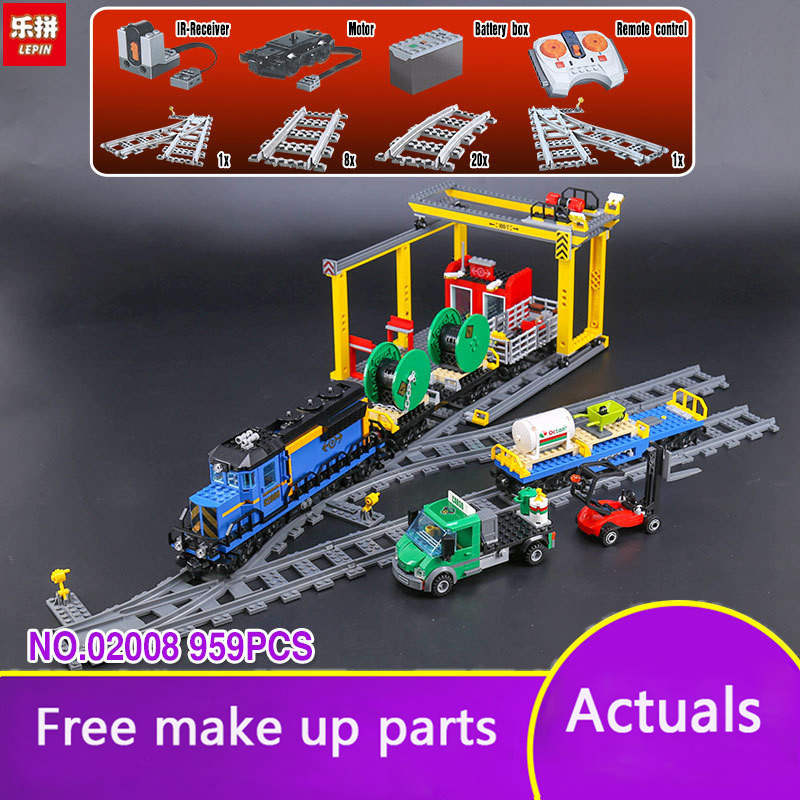 Lepin 02008 City Series the Cargo Train Set Building Blocks Bricks 60052 RC Train Children Educational Toys Gift City LP050 lepin 02008 the cargo train 959pcs city series legoingly 60052 plate sets building nano blocks bricks toys for boy gift