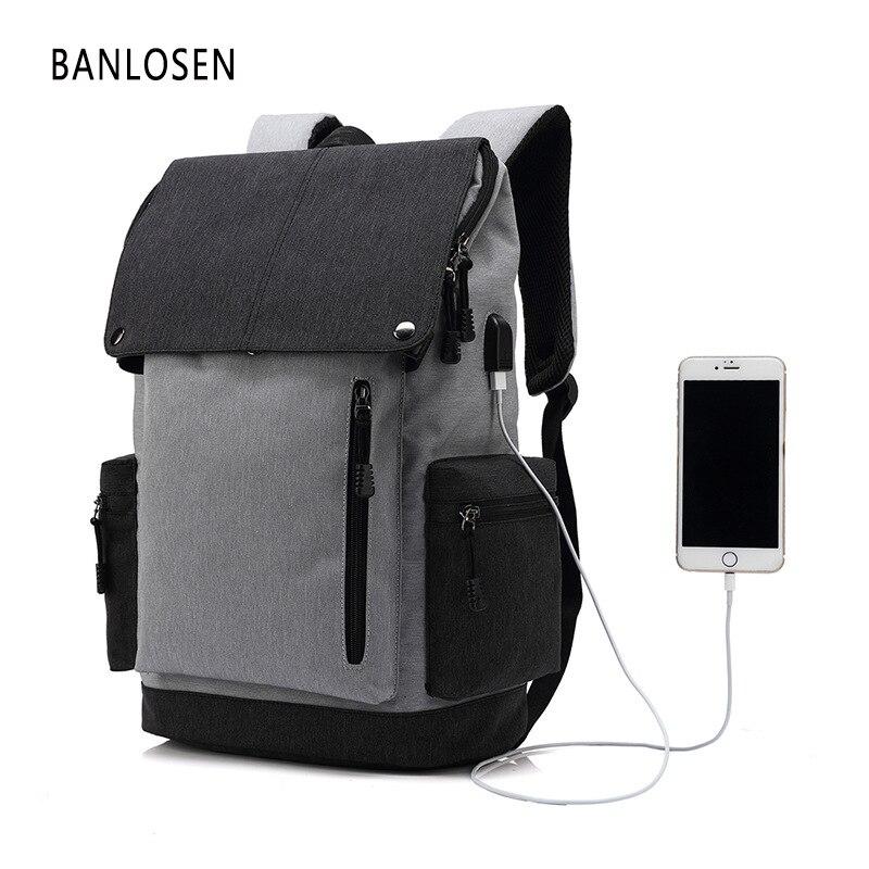 USB Design Men Black Backpack Waterproof Large Capacity 14 Inch Laptop Bag Travel Backpack women School Bags Mochila Masculina