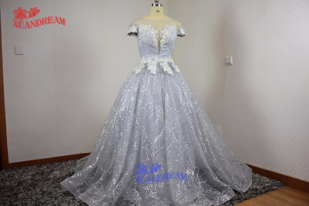 100 Real made hot sale glitter bling bling evening gown with heavy beads elegant short sleeves