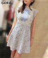 GORB 2017 Yeni Geldi Yaz Sıcak Satış Kadınlar Avrupa Defile Marka Üst High-end Dantel Kolsuz Slim Mini elbise G2862