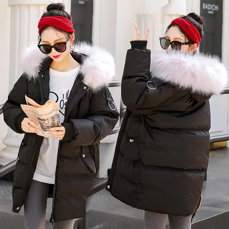 Maternity Women New Moms Fluffy Mid-long Hooded Down Cotton Cardigan Coat Fashion Lightweight Warm Puffer Outdoor Winter Jackets