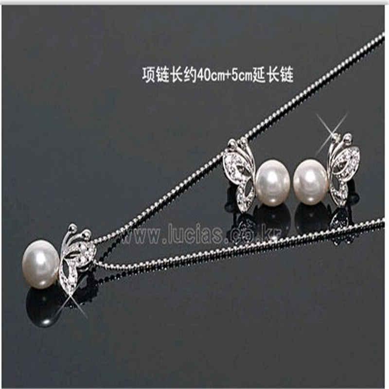 Elegante Temperament Hochzeit Schmuck Strass Kristall Perle Halskette Ohrringe Schmuck Set Silber Schmetterling Braut Zubehör