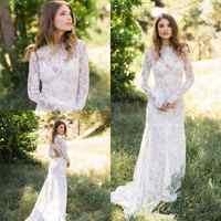 Country Style Boho Wedding Dresses Long Sleeve 2019 Robe De Mariage Sheer Lace Open Back Bridal Dress Handmade Wedding Gowns