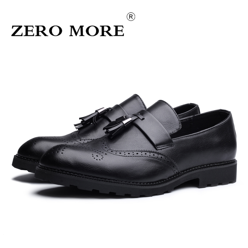 Artificial Leather/Microfiber Men Brogue Shoes Slip on Wear Comfortable Men Shoes Fashion Tassel Men Casual Shoes #ZM126 branded men s penny loafes casual men s full grain leather emboss crocodile boat shoes slip on breathable moccasin driving shoes