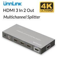 Unnlink HD mi многоканальный коммутатор сплиттер 3 входа 2 выхода UHD 4K @ 30 Гц с ИК-пультом дистанционного управления для проектора xbox ps4 tv mi наклейка ...