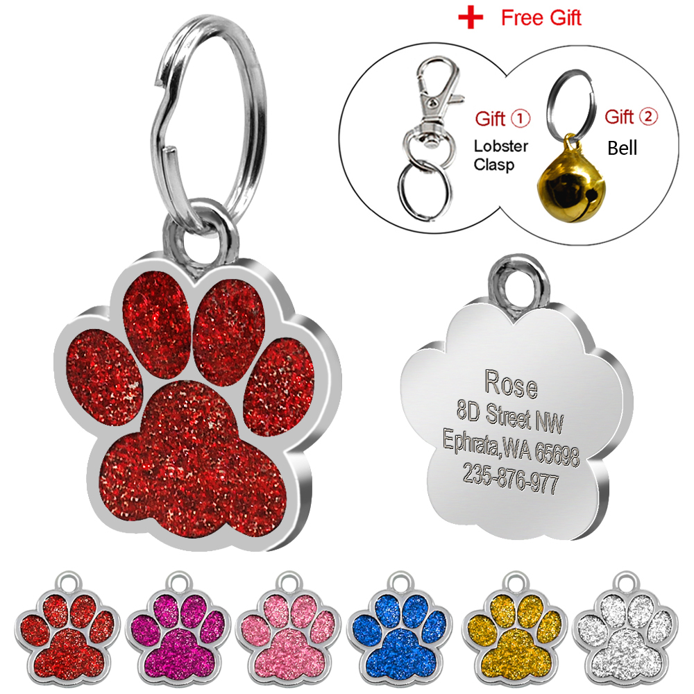 dbd2960d0338 US $1.99 |Glitter Custom Pet Dog Tag Personalized Engraved Dogs Cat ID Tags  Free Hook & Bell Pink Blue Silver Red Colors Paw Shape-in ID Tags from ...
