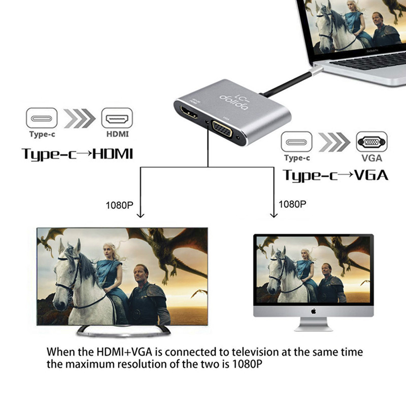"Image 3 - ""TYPE C to HDMI+VGA Gray HDMI Converter for Notebook-in Type-C Adapter from Consumer Electronics"