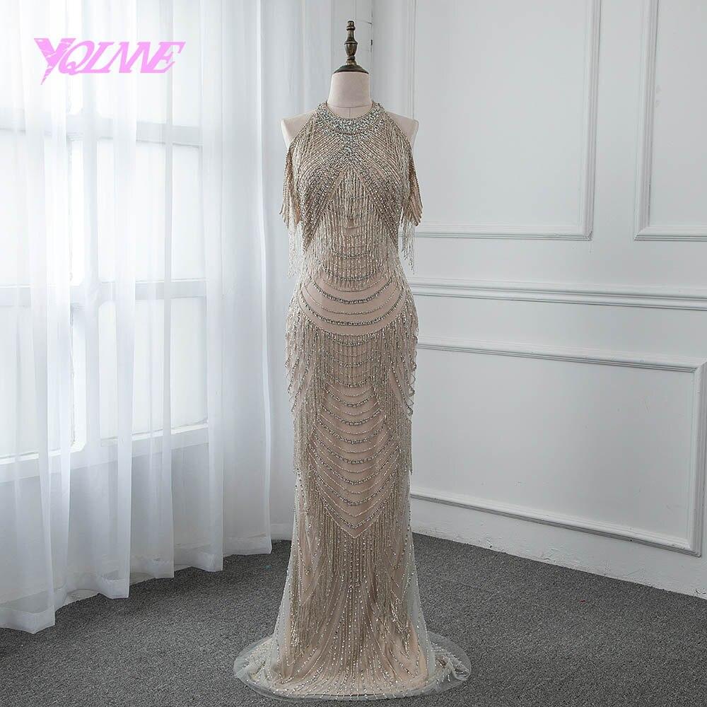Strass lindo Vestido de Noite Longo Sereia Slit Voltar Prom Vestido De Festa Vestidos Pageant 2019 YQLNNE