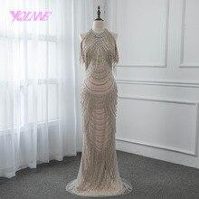 ゴージャスなラインストーンイブニングドレスロングマーメイドスリットバックウエディングドレス Vestido デ · フェスタページェントドレス 2019 YQLNNE