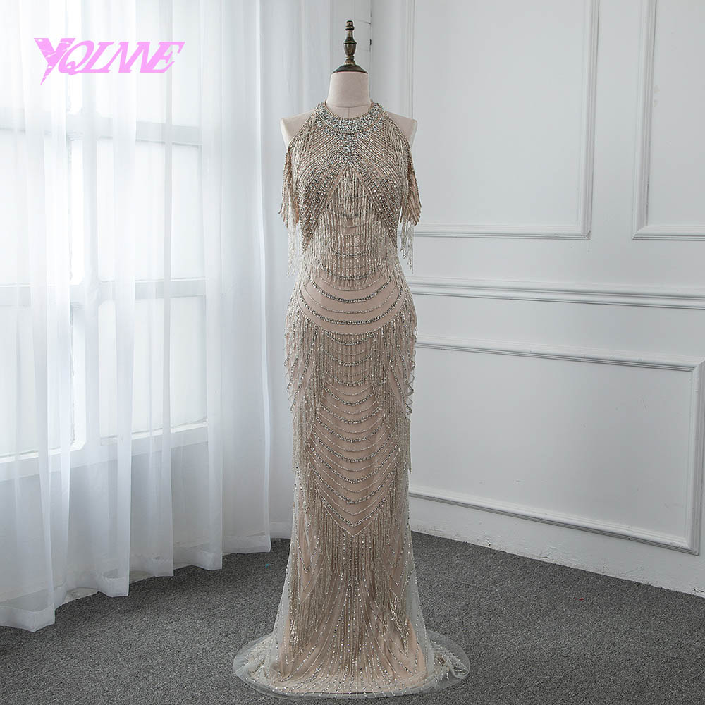 YQLNNE Gorgeous Rhinestones   Evening     Dress   2019 Long Mermaid Slit Back Prom Gown Vestido De Festa Pageant   Dresses