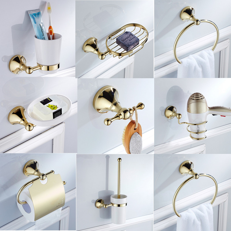 Free Shipping Copper Bathroom Sanitary Luxury Gold Plated Color Bathroom Accessories Set Soap