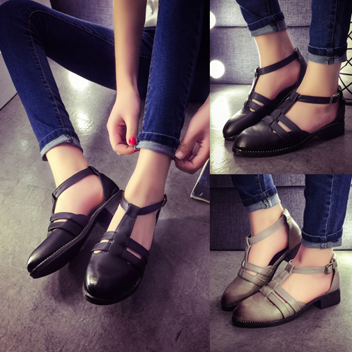 04f0c0b24 New Fashion Women Flat Sandals Round Toe Ladies Sandals Cover Heel Front  and Rear Strap Women Sandals Flat Ankle Strap Sandals