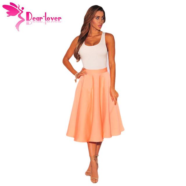 Dear Lover Señoras Midi Faldas Para Mujer de Cintura Alta de La Vendimia Elegante Naranja Falda Acampanada Una Línea Nueva Faldas Saias Jupe Femme LC65003