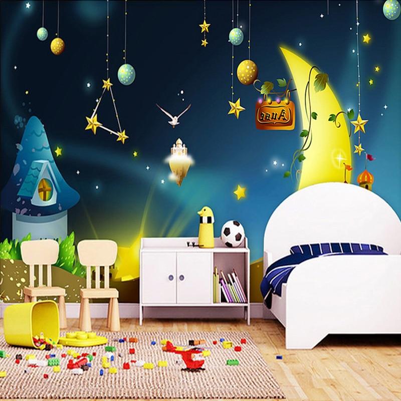ᗚمخصص 3d صور خلفيات للأطفال الكرتون نمط الصورة منظر النجوم القمر