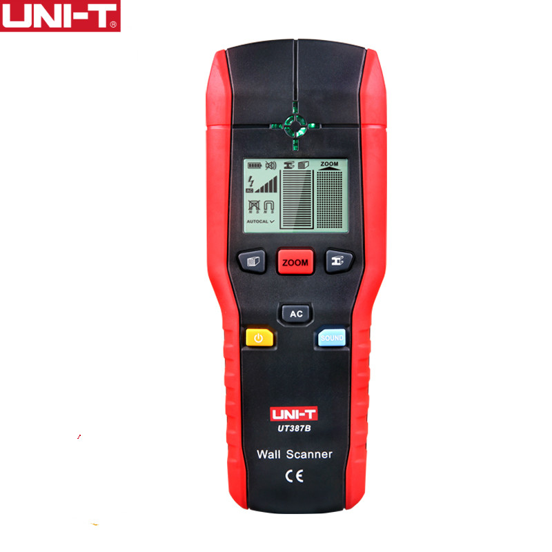 UNI-T UT387B Wall Scanners Ferrous Meters Non-ferrous Metal detectors Copper wood Metal Detector Flashing LED Light Indication uni t ut387b digital wall scanner detector ac wire metal dedector wood testing 80m 100% brand new