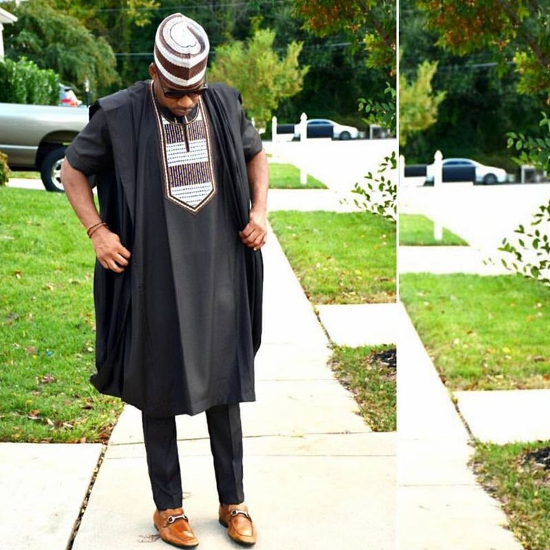 No hat 2019 sud-africain robe afrique hommes mode costume 3 pièces ensemble dashiki hommes vêtements chemise doux matériel grande taille