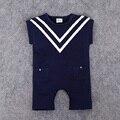 2017 Bebê Menino Marinheiro Romper do bebê Recém-nascido de Algodão Romper Subir Roupas Macacão de Bebê Menino de Verão da Roupa Do Bebê da Marinha