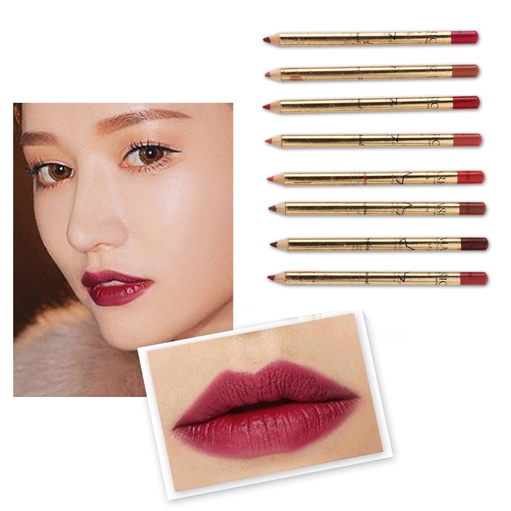 8Pcs/Set 3D Matte Lipliner Set Makeup Waterproof Contour Lips Pigment Red Lipstick Pencil Women Beauty Lip Liner Tool 2