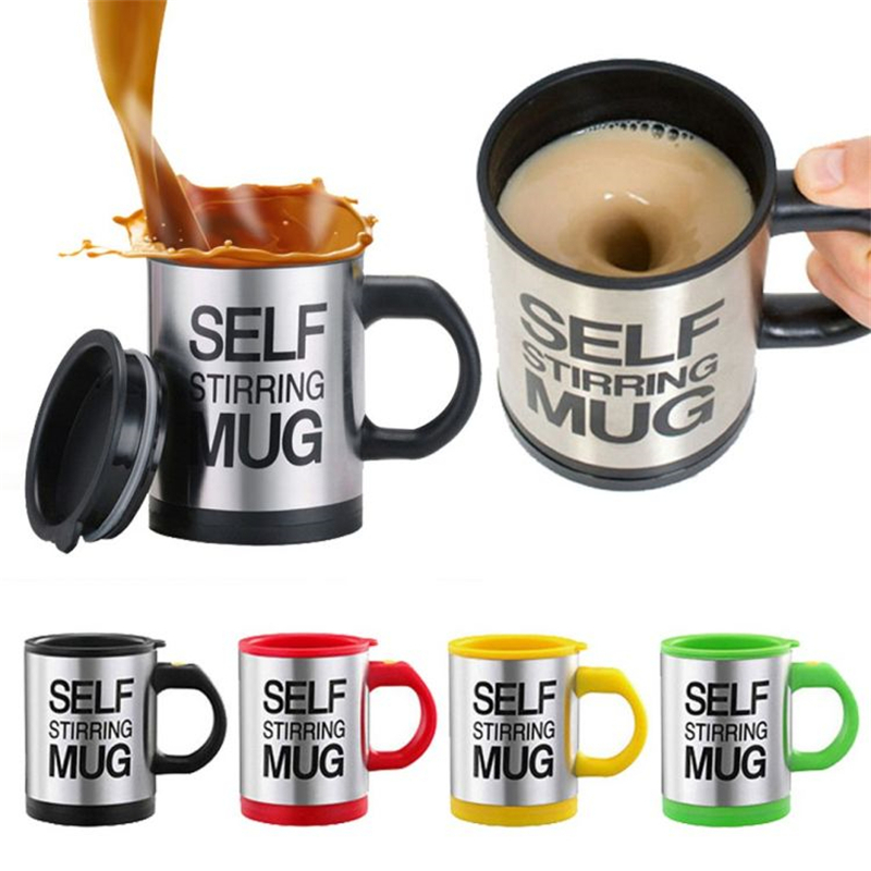 Kreative Kaffeetasse 400 ml/13,5 unze Edelstahl Oberfläche Tasse mit Deckel Faul Automatische Selbst Rühren Becher für reise Office Home