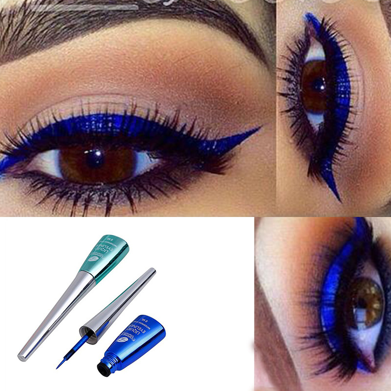 FaRRES Colorful Liquid Eyeliner Blue Waterproof Long Lasting Liquid Eyeliner Glitter Diamond Matte Eyeliner Gel Cosmetics AM035