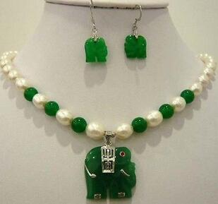 fine Lovely Wonderful word hot sell new - White pearl green stone elephant pendant necklace earring set