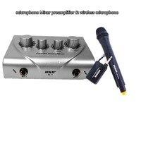 Microfone Misturador amplificador & efeitos reverb efeitos Sonoros excellen microfone Misturador karaoke microfone sem fio sistema de TV PC K canção