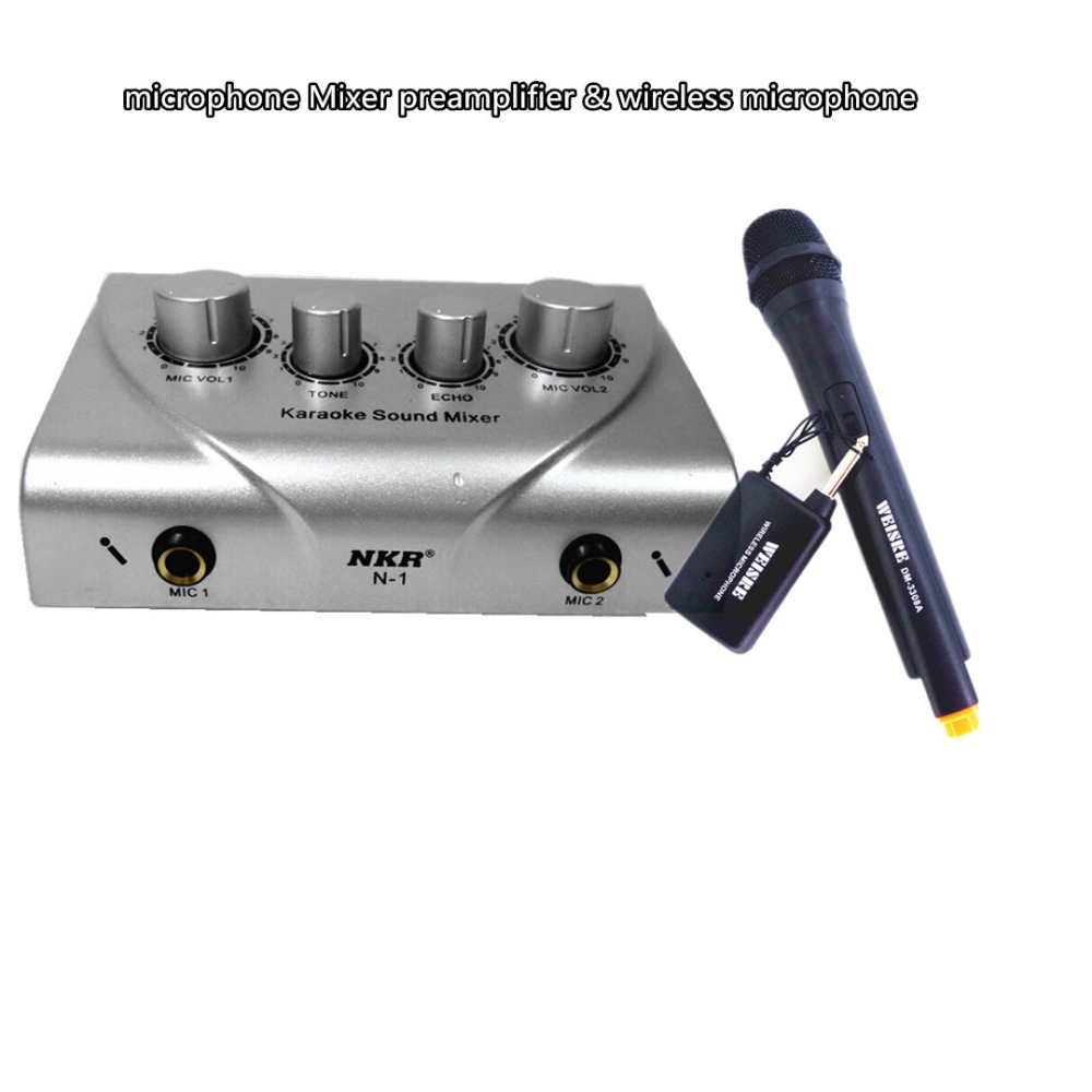 microphone Mixer preamplifier & wireless mike Sound effects excellen microphone Mixer karaoke reverb effects TV PC K song system