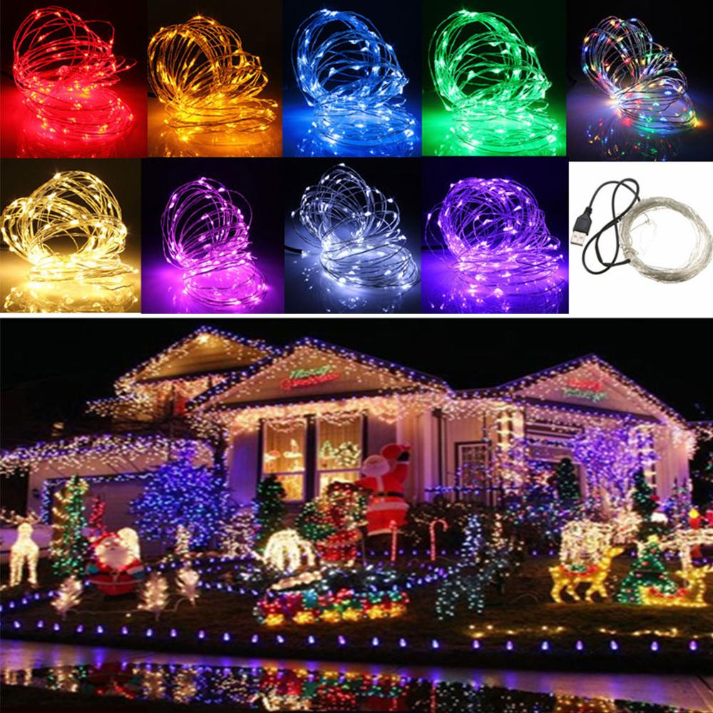 10M 12V 100 LED USB Copper Wire Flexible Strip Light for Xmas Wedding Party Decorating White Red Yellow Blue Blue Purple Pink in LED Strips from Lights Lighting