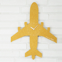 Aircraft Pine Wood Wall Clock Advanced Modern European Vogue Airplane Style Colorful Silently Clock for Children Home Decor