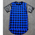 Men Grey Plaid T-Shirt Leather Sleeve Golden Side Zippers Extended Hip Hop T Shirt
