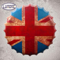 35cm Round UK Flag Beer Bottle Cap Vintage Tin Sign Retro Metal Art Poster Tickers Decor