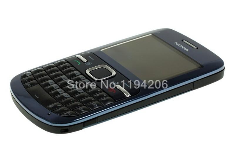 Refurbished nokia c3-00 WIFI 2MP bluetooth camera Jave unlocked phone blue 4