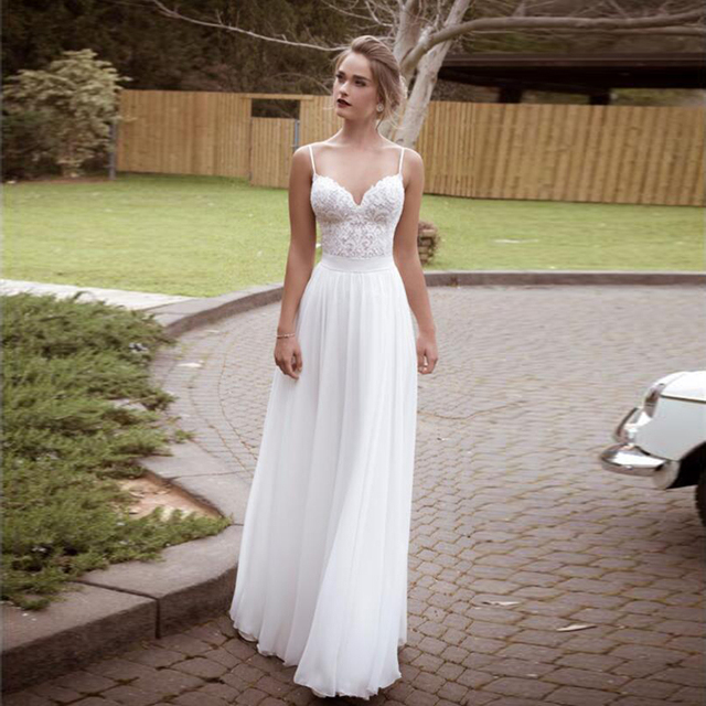 2016 Boho Beach Wedding Dresses Y Backless Spaghetti Lace Top Chiffon Gowns Vintage Long